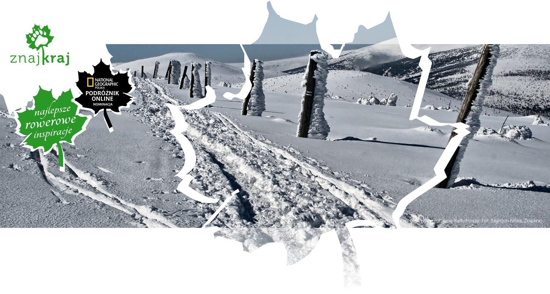 Ślady biegówek na głównym grzbiecie Karkonoszy