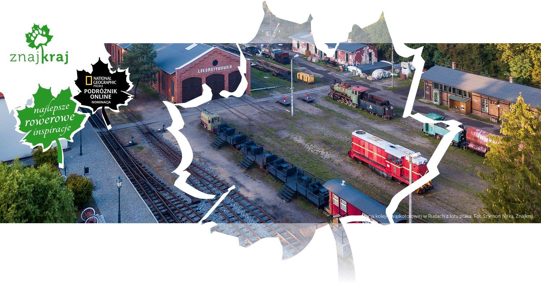 Stacja kolejki wąskotorowej w Rudach z lotu ptaka