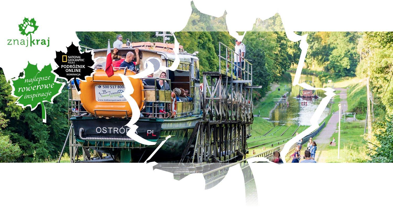 Statek na wózku Kanale Elbląskim na pochylni Buczyniec