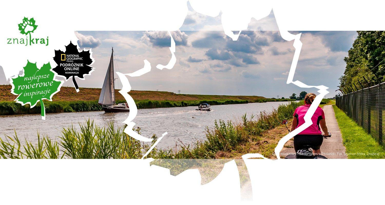 Szlak rowerowy nad kanałem w Holandii