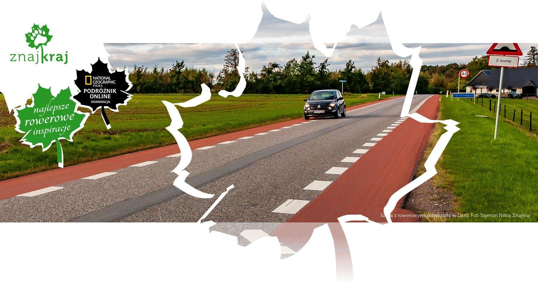 Szosa z rowerowymi poboczami w Danii