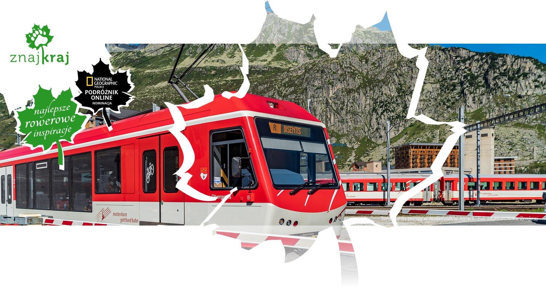 Szwajcarski pociąg w Andermatt w Alpach
