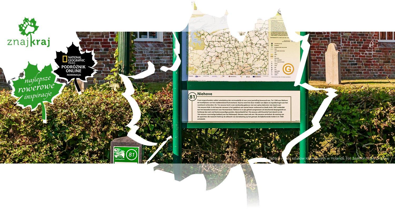 Tablica i znaki szlaków rowerowych w Holandii
