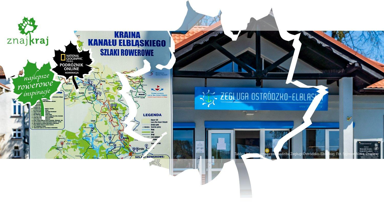 Tablica informacyjna przed siedzibą Żeglugi Ostródzko-Elbląskiej