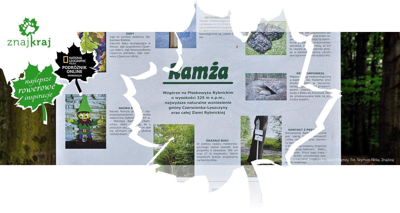 Tablica informacyjna - szlaki wokół Ramży