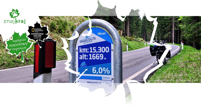 Tabliczka informująca o danych podjazdu pod Passo Rolle