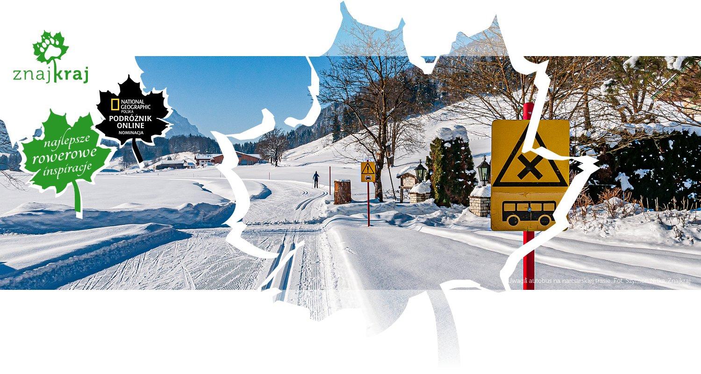 Uwaga autobus na narciarskiej trasie
