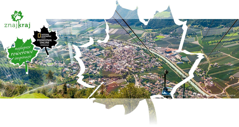 Widok z wagonika kolejki linowej w Południowym Tyrolu