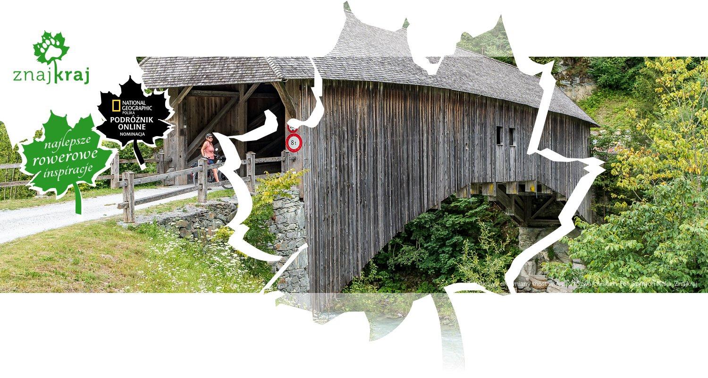 Zabytkowy drewniany most w Alpach Szwajcarskich