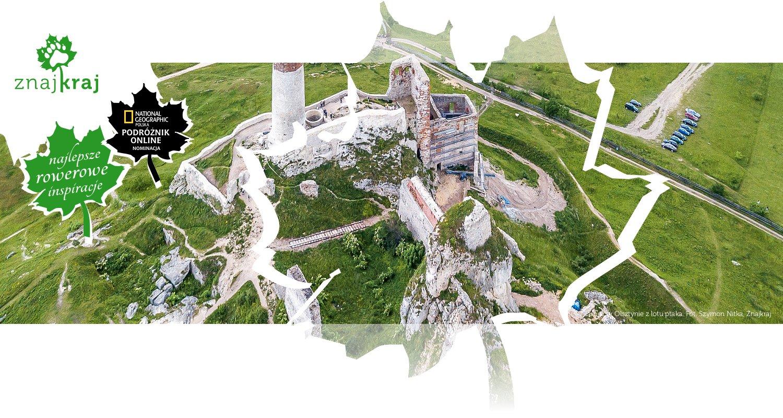 Zamek w Olsztynie z lotu ptaka