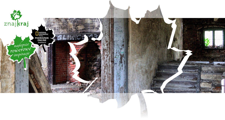 Zdewastowane wnętrze pałacyku myśliwskiego w Łężczoku