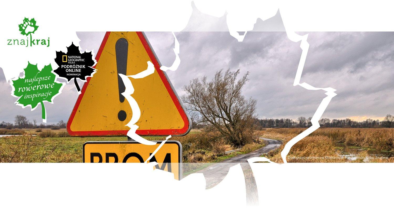 Znak przed promem w Kłopotowie