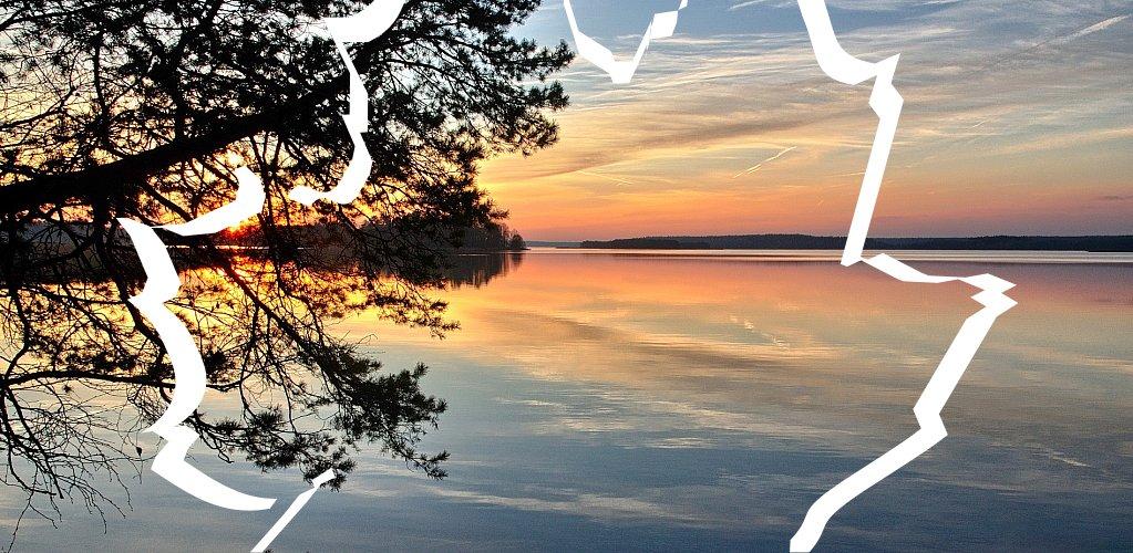 Kolorowy zachód Słońca nad Wigrami