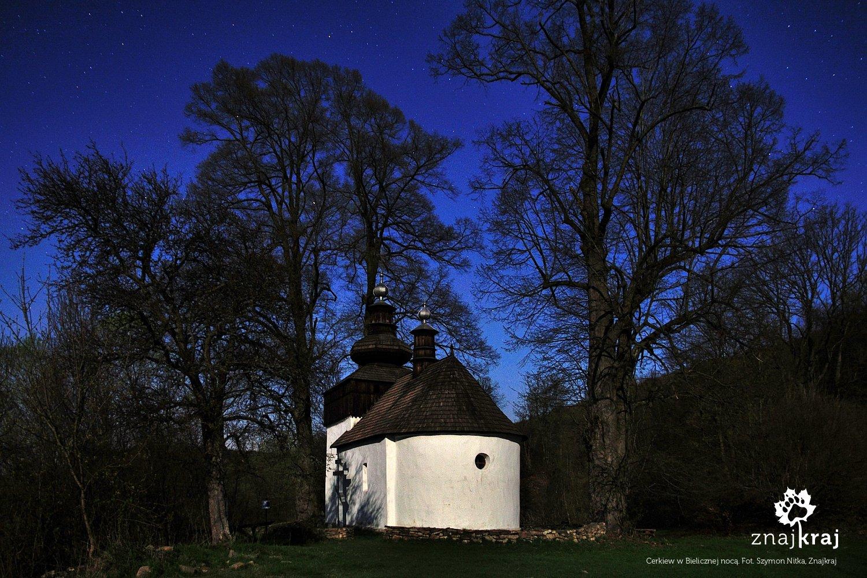 Cerkiew w Bielicznej w blasku Księżyca