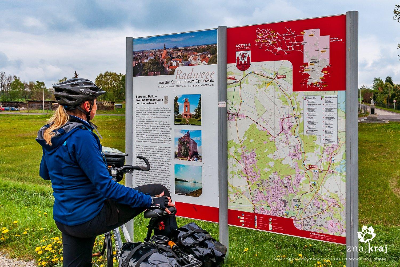 Mapa dróg rowerowych koło Chociebuża