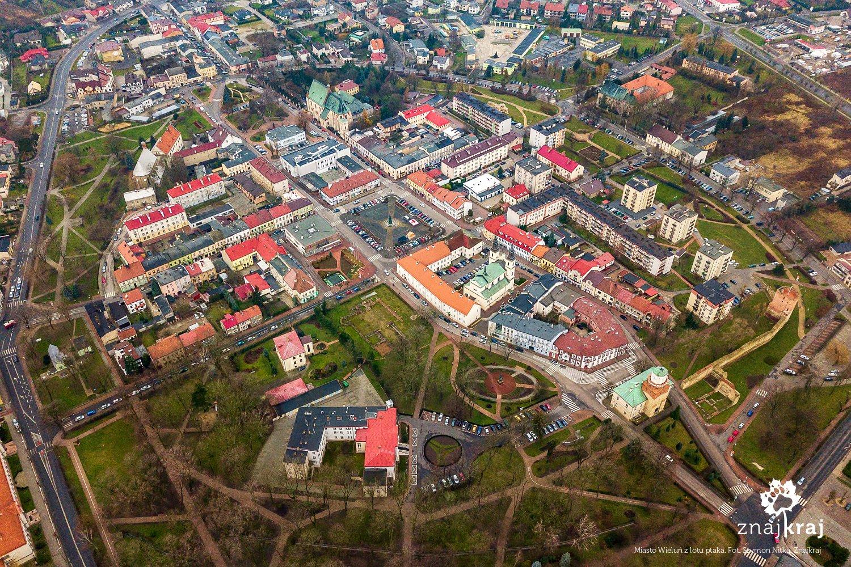 Miasto Wieluń z lotu ptaka