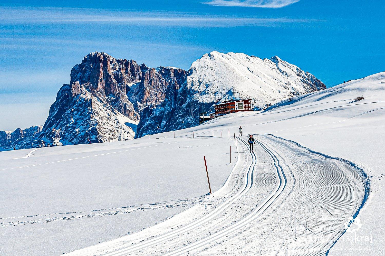 Biegówki w Dolomitach - Sasso Lungo i Sasso Piatto w tle